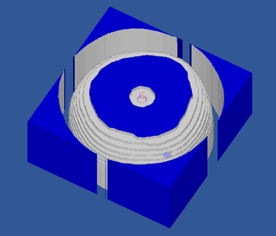 Simulation of the roughing pass in CutViewer Mill