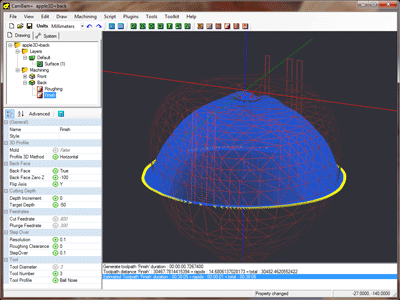 Back face finishing toolpaths (with wireframe view)